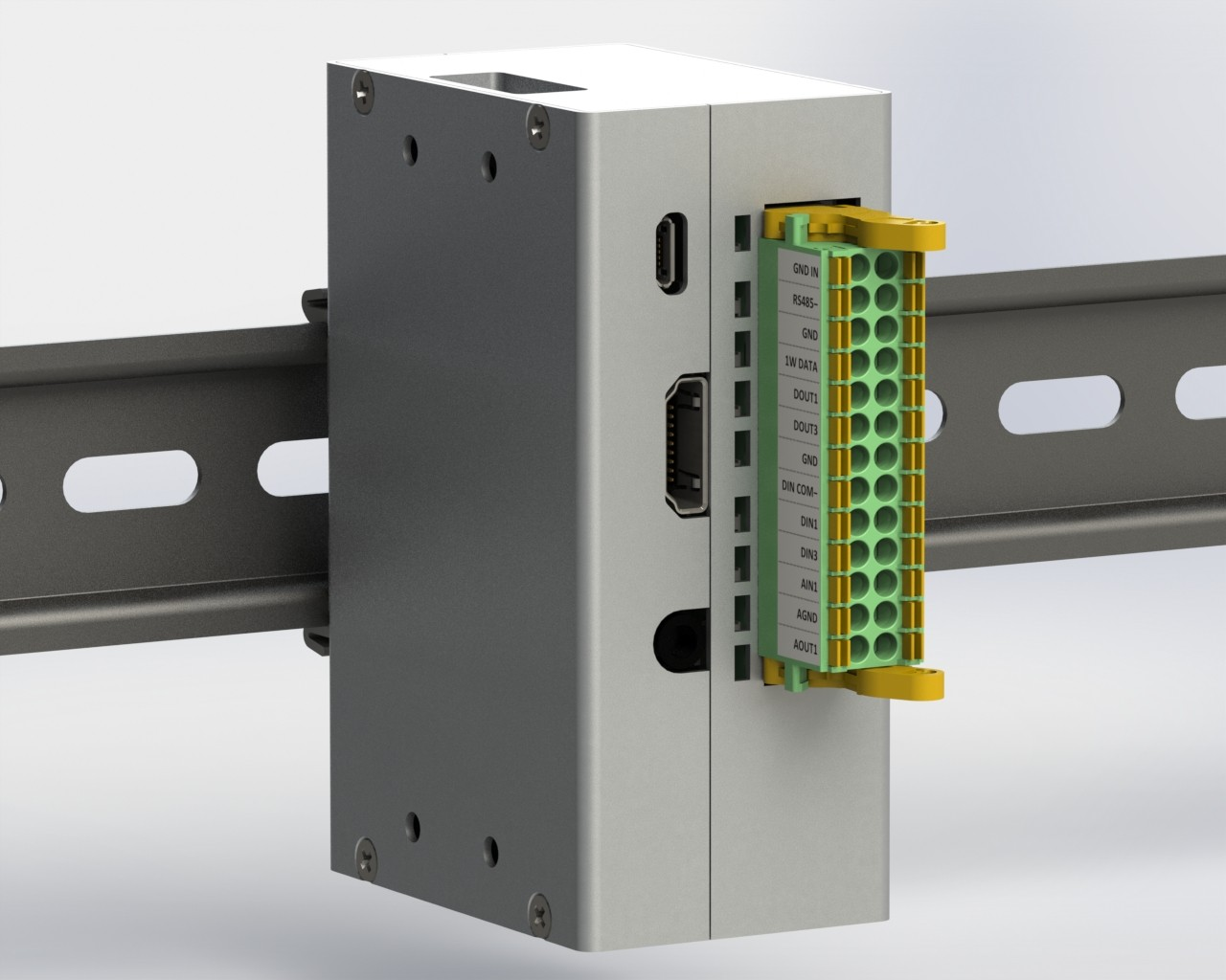 Monarco HAT and Raspberry Pi on a DIN rail - vertical mounting.