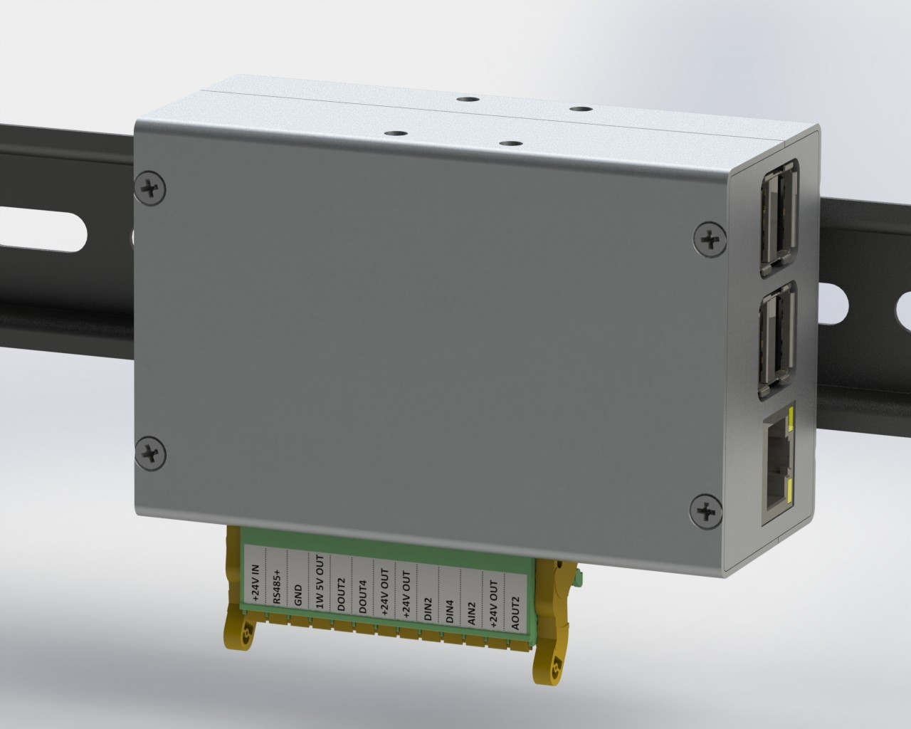 Monarco HAT and Raspberry Pi on a DIN rail - horizontal mounting.