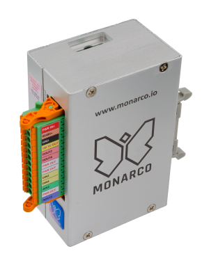 Monarco HAT and Raspberry Pi in a DIN-rail enclosure