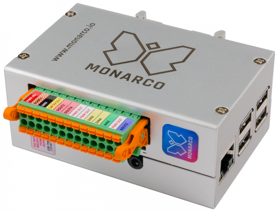 Monarco HAT in enclosure for DIN rail mounting