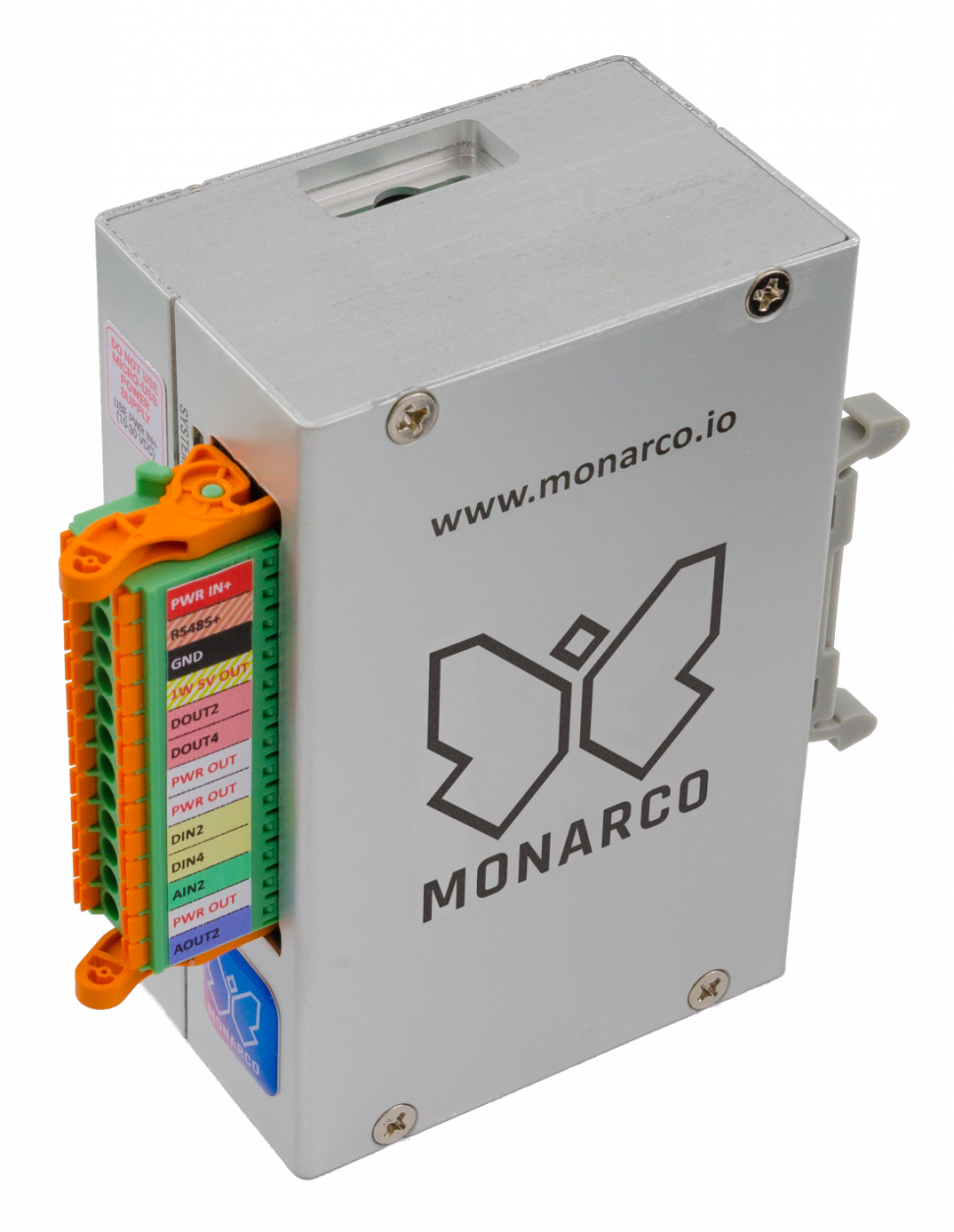 Monarco HAT and Raspberry Pi in a DIN-rail enclosure, vertical