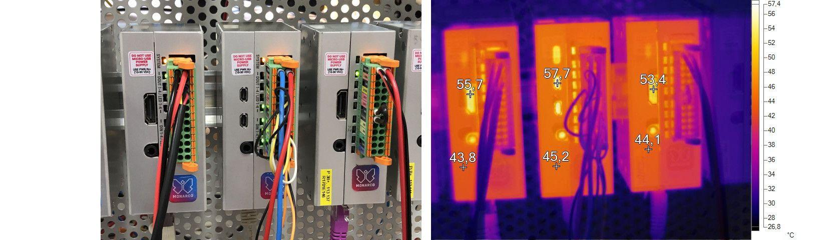 Infrared photo of Monarco HAT on aDIN rail, Raspberry Pi 3 and 4