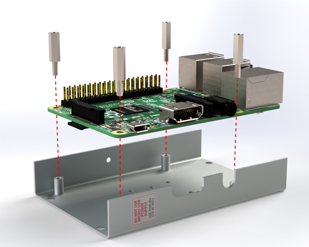 Metal spacers will fix the Raspberry Pi to the bottom part of the aluminium case.