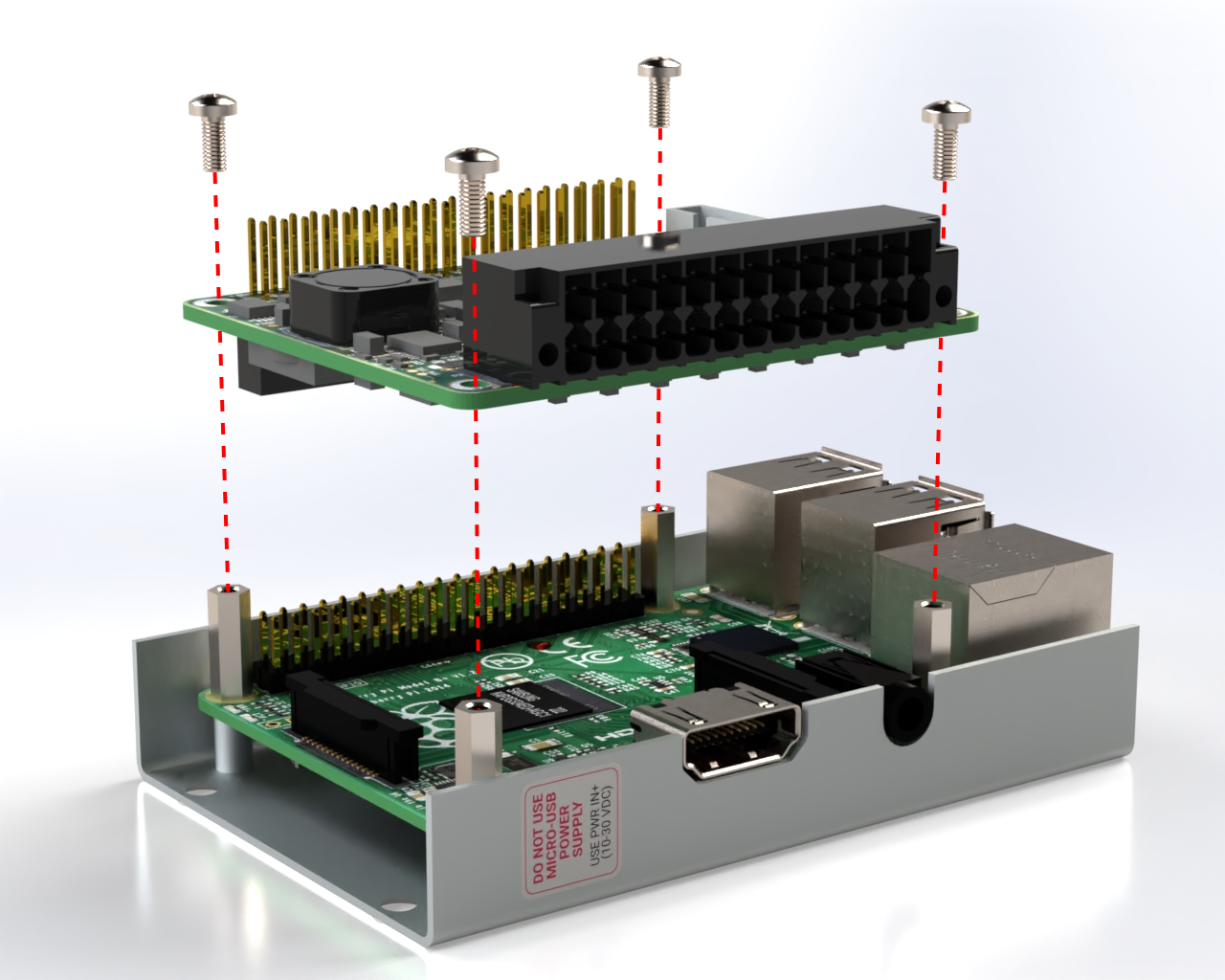 Put Monarco HAT on top of Raspberry Pi and tighten it with screws.